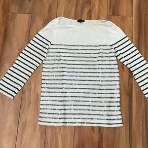 J Crew Off White And Gray Sequin Striped Shirt